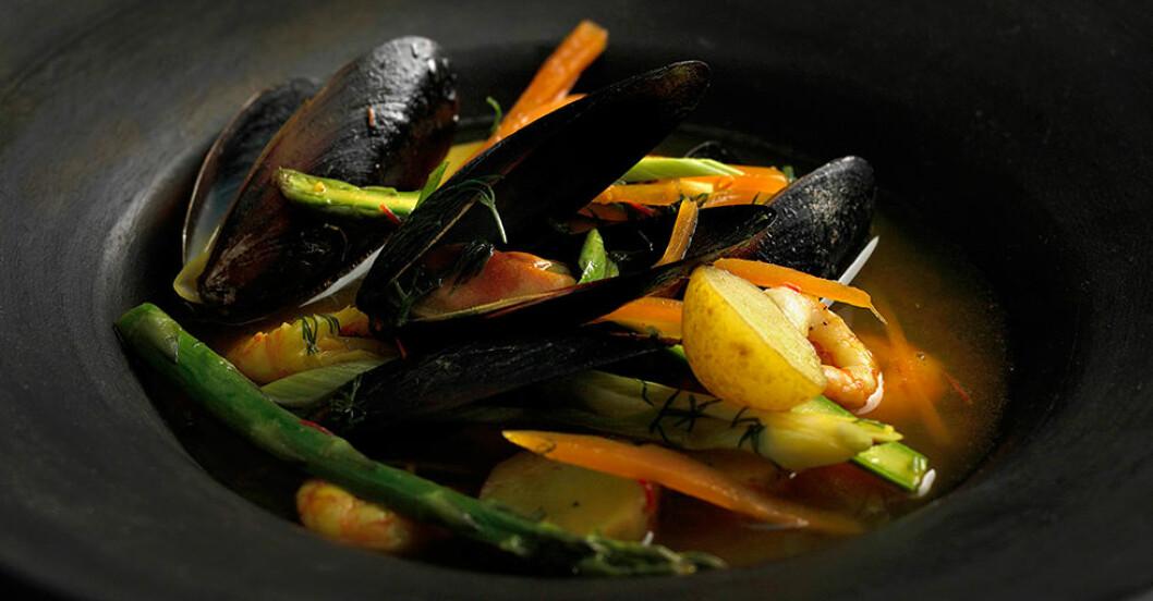 gryta skaldjur recept
