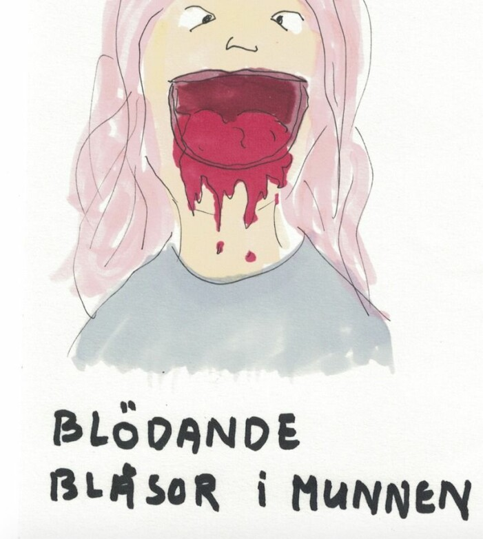 Karin Nygårds illustration över blodiga blåsor i munnen under corona.