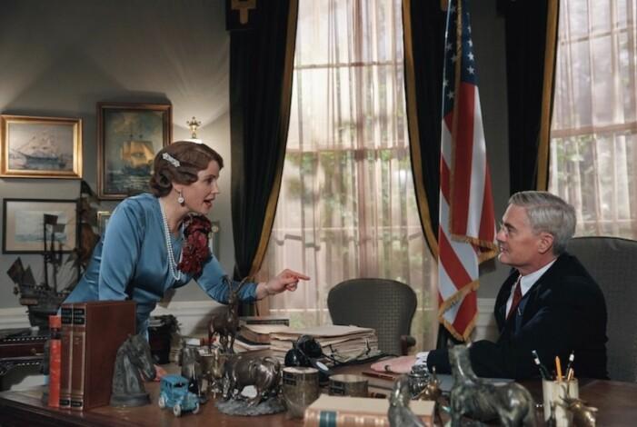 Sofia Helin som prinsessan Märtha i Atlantic Crossing där Kyle MacLachlan gör rollen som amerikanska presidenten Franklin D. Roosevelt.