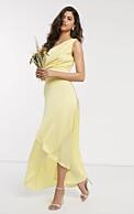 gul one shoulder-klänning från Asos