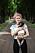 Melinda med familjens senaste tillskott, Vincent, sju månader.