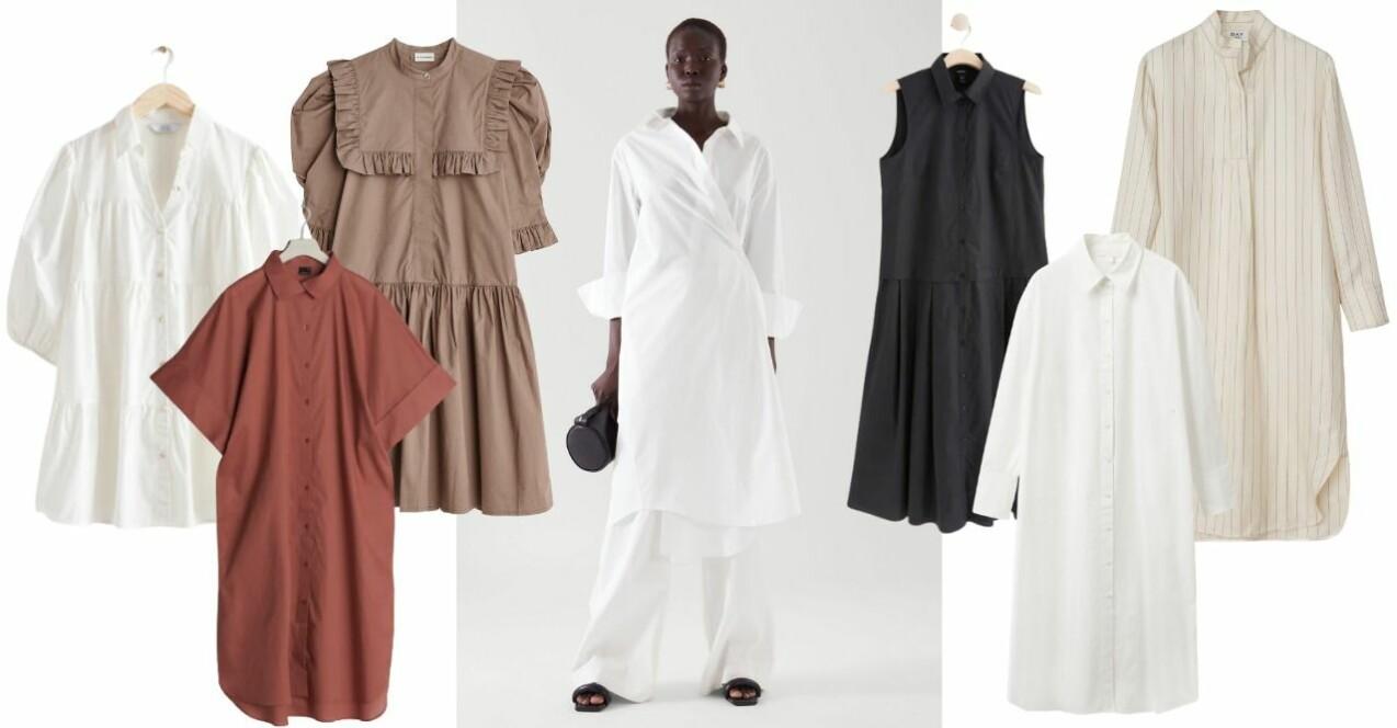 Inspirationskollage med 7 olika skjortklänningar i jordnära toner. Varje plagg beskrivs mer längre ner i artikeln.