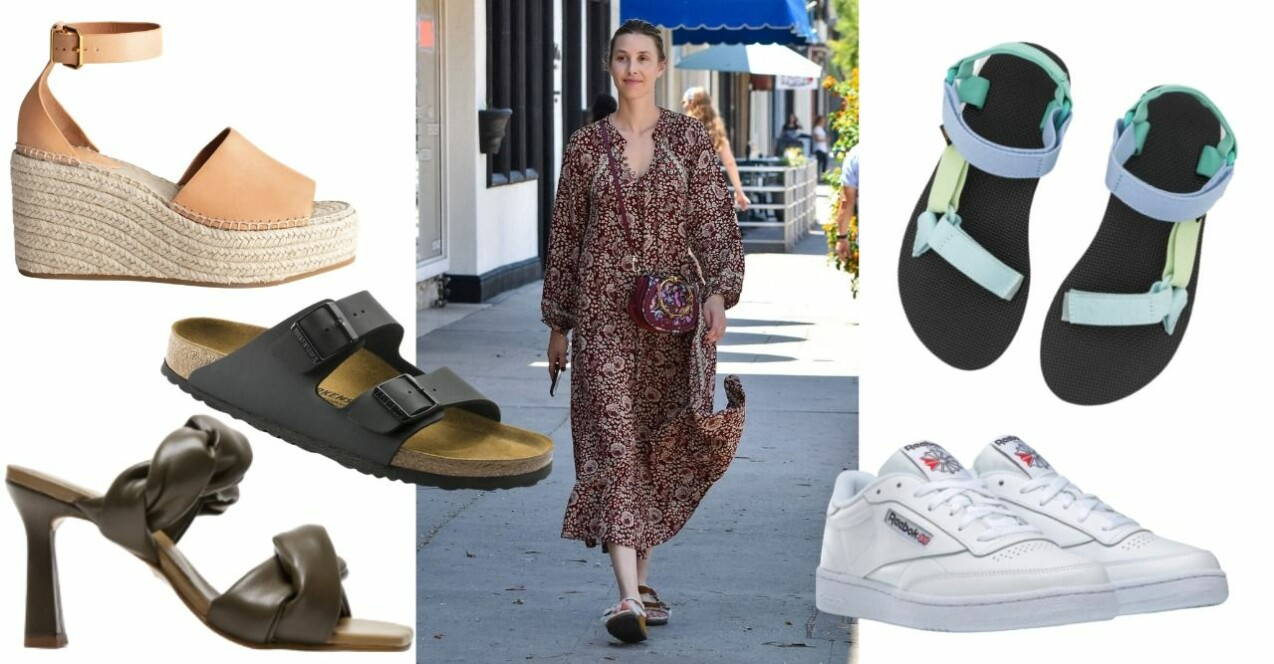 Whitney Port i tofflor från Birkenstock. Bilder på olika skor som återkommer i artikeln nedan.