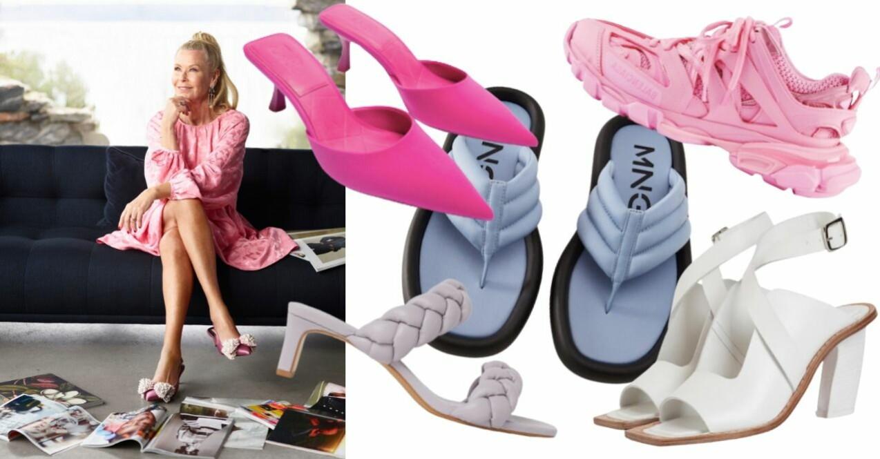 """Efva Attling i rosa klänning och rosa skor med strassprydd rosett på. frilagda bilder på 5 olika skor som återkommer i artikeln nedan """"Skor du ska satsa på för att skapa wow-känsla""""."""