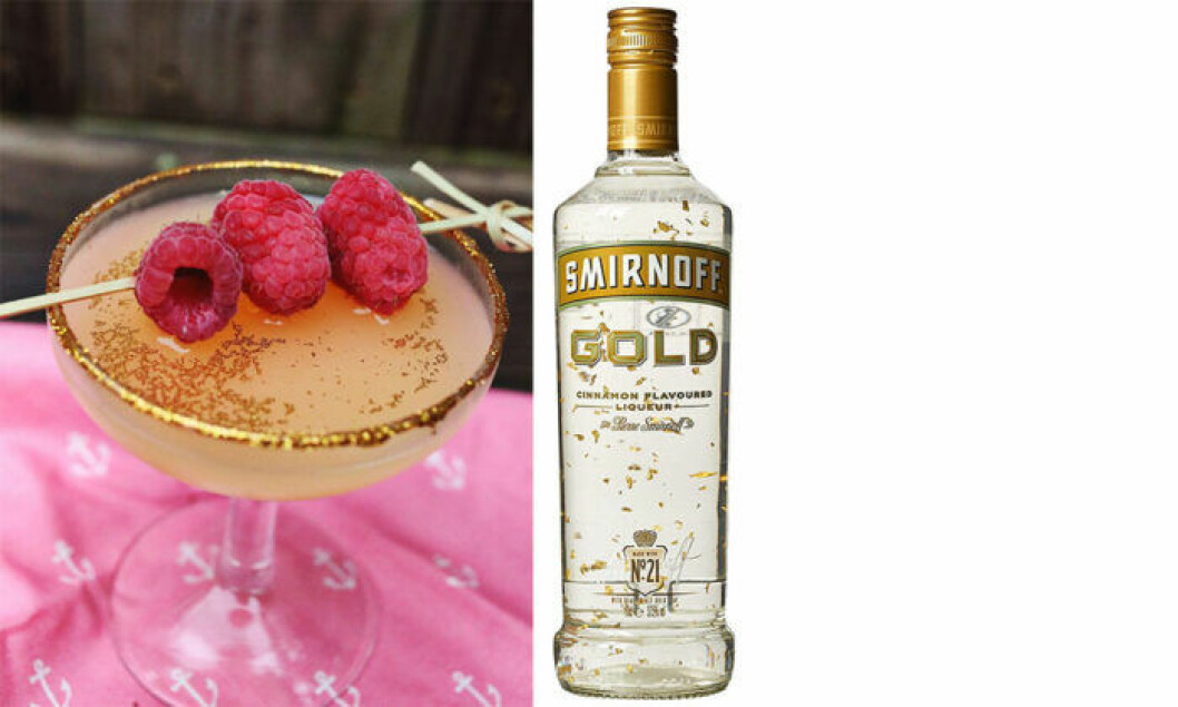 Blanda drinkar med sprit med guldflagor. Eller tillsätt eget guld till drinken.