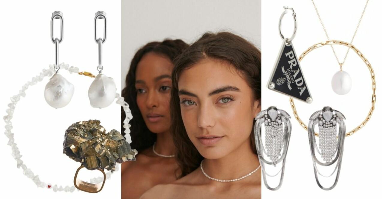 Inspirationskollage med smycken som representerar höstens smyckestrender. Samtliga smycken beskrivs mer i artikeln.