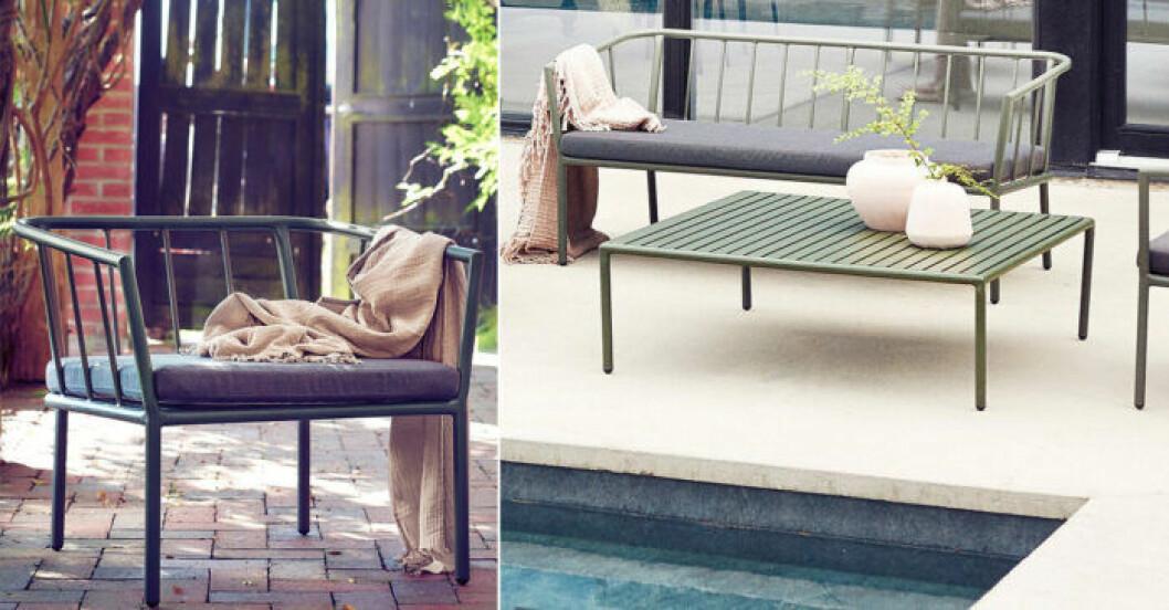 grön soffa ute stål