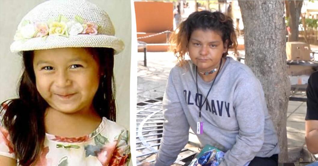 Sofia Juarez innan hon försvann, och kvinnan som kan vara Sofia i vuxen ålder.