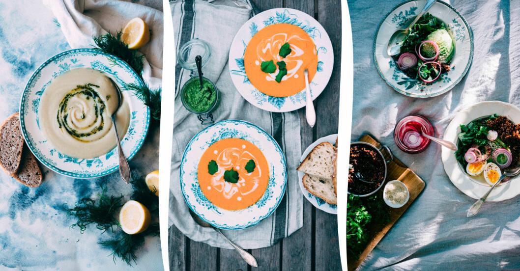 Vit grönsakssoppa och dillolja, Tomatsoppa med kokosmjölk och Frukostsoppa – goda sommarsoppor
