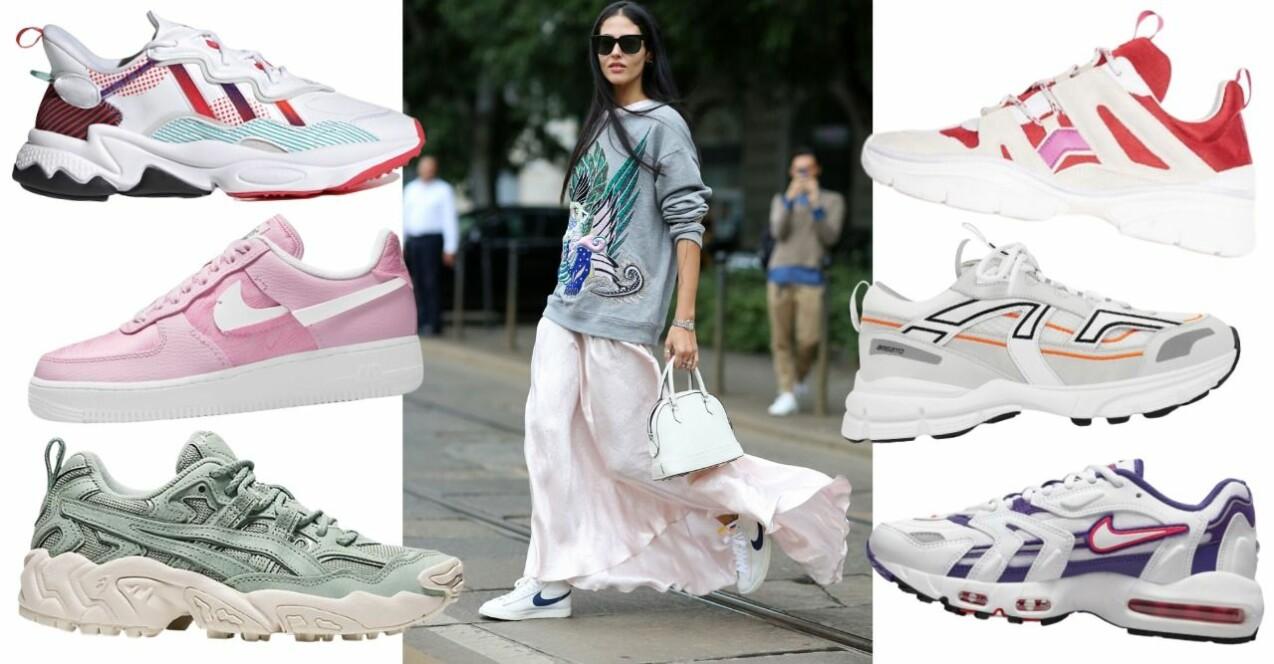 Kvinna i sweatshirt, lång, svepande kjol och Nike-sneakers. Sex olika sneakers i olika färger och former som återkommer längre ner i artikeln.