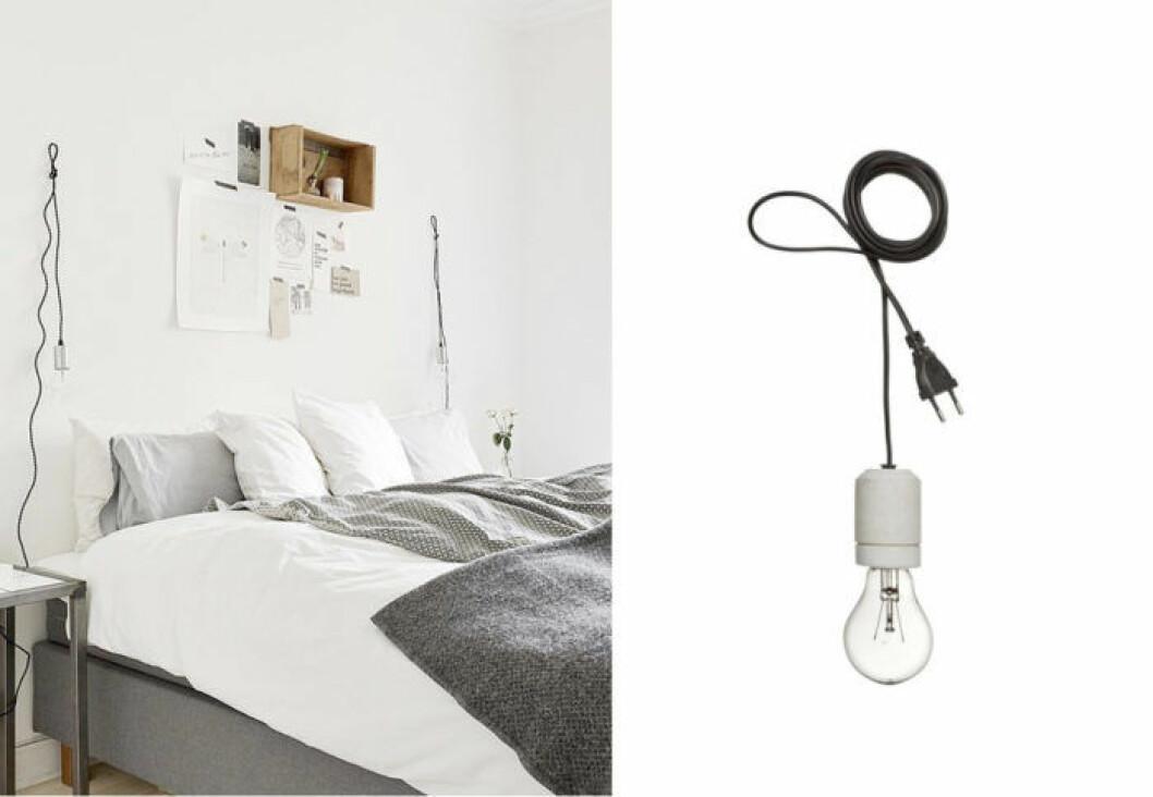 Grått sovrum med hängande lampa från Granit.