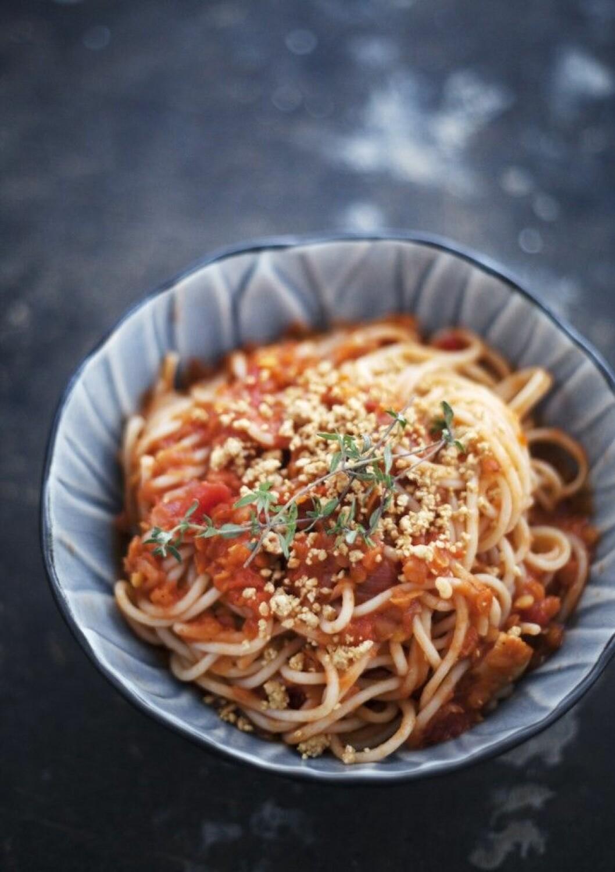 Spagetti med linsfärssås
