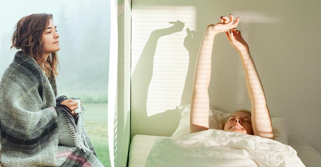 Kvinna som sträcker på sig i sängen samt kvinna som dricker kaffe på morgonen.