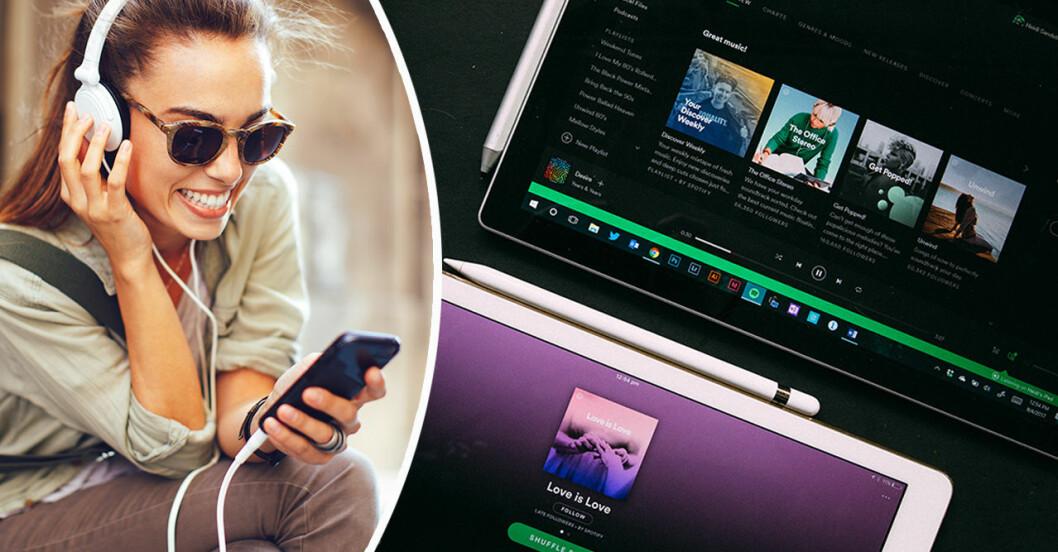 tjej lyssnar på musik