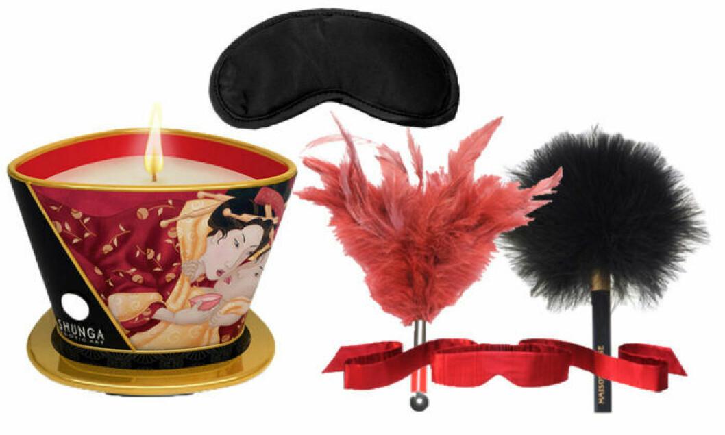 Massageljus från Shunga, svart ögonbindel, Tantra Feather Teaser, La Plumeau Caresse och Intima Silk Blindfold från Lelo.