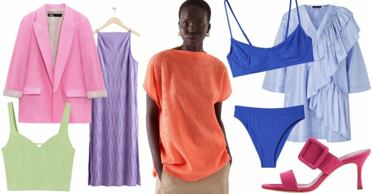 Inspirationskollage med temat starka färger. Samtliga produkter beskrivs mer utförligt i artikeln.