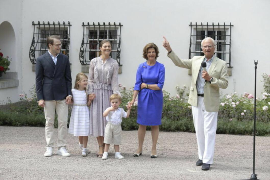 Kronprinsessan Victoria 41 år, firade med familjen på Solliden
