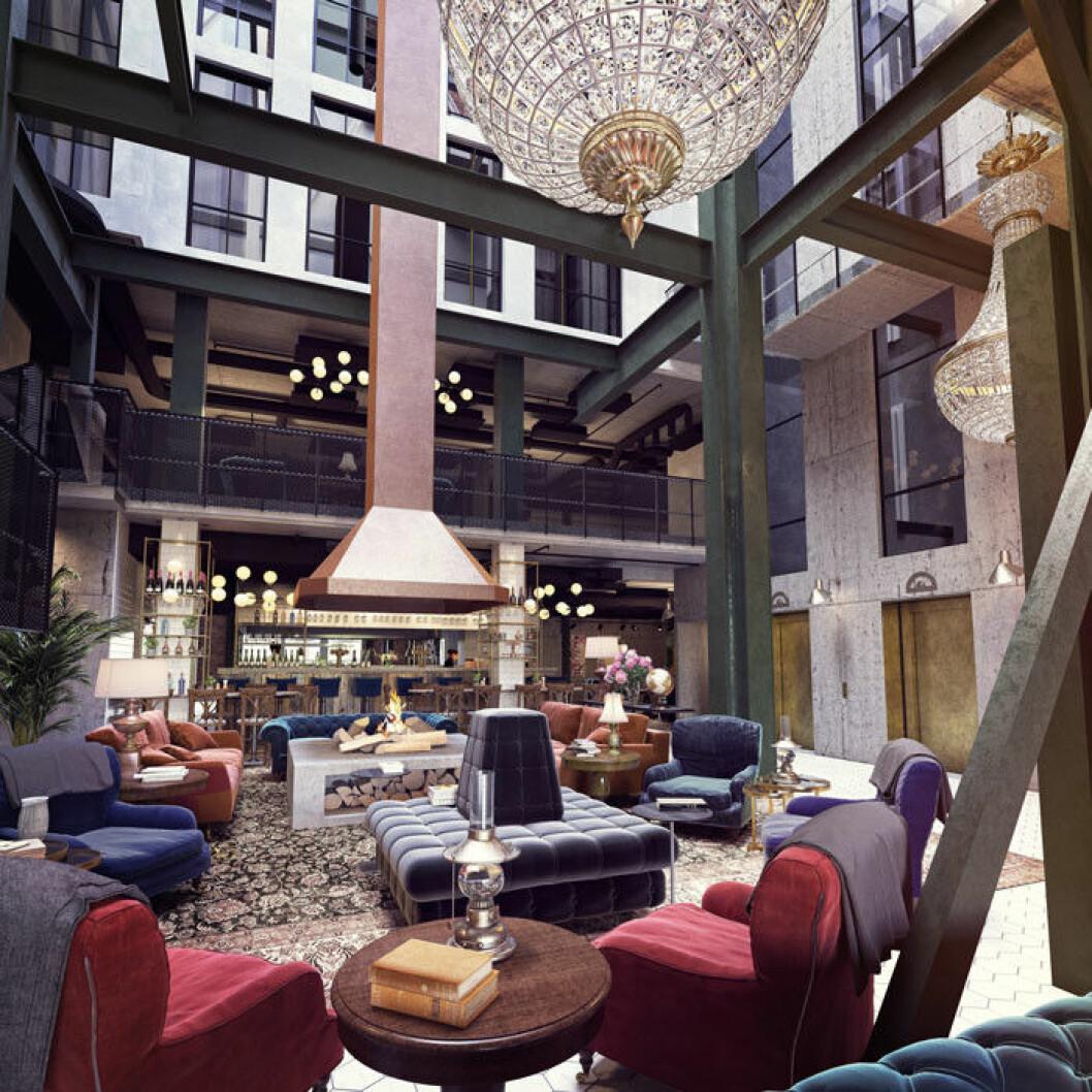 Lobbyn i hotellet.