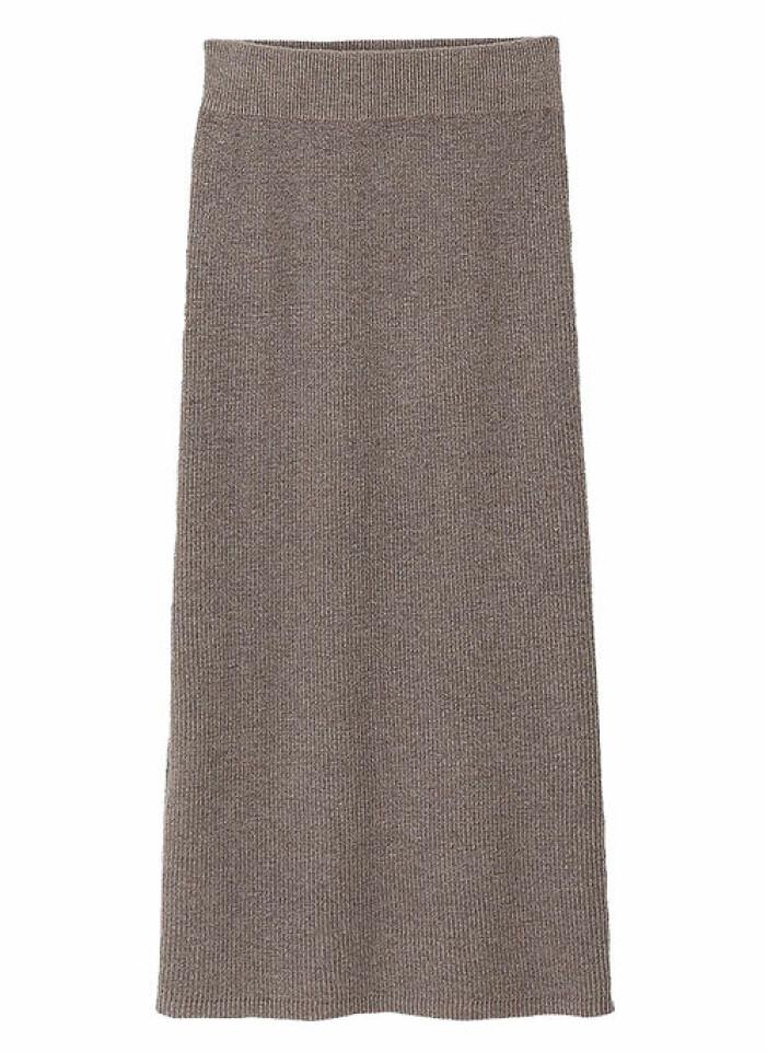stickad kjol grå dam