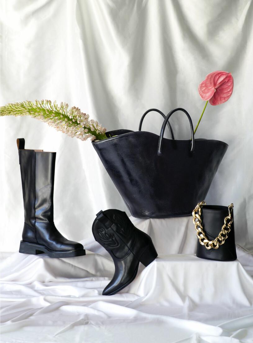 Svarta accessoarer vagabond stovlar, little liffnee tote och cowboyboots Sofie Schnoor