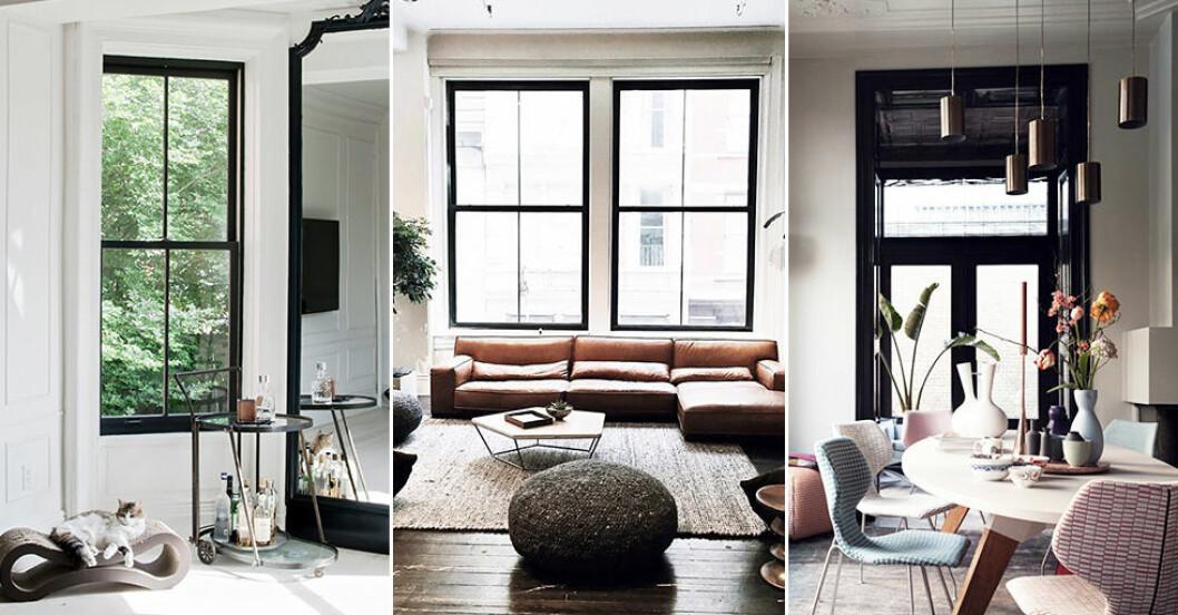 svarta fönsterkarmar