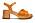 Sandaler med grov sula med rågummi och bred klack. Mellanbrunt skinn med överlappande remmar vid tån samt vristband.