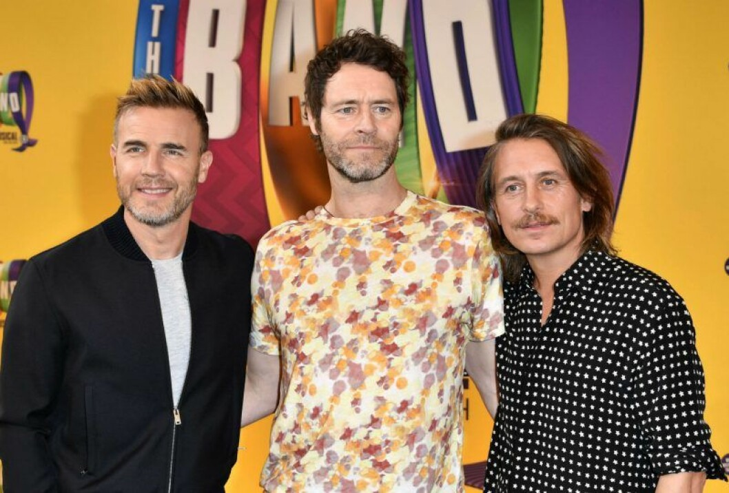 Gary Barlow, Howard Donald och Mark Owen från Take That, 2019.