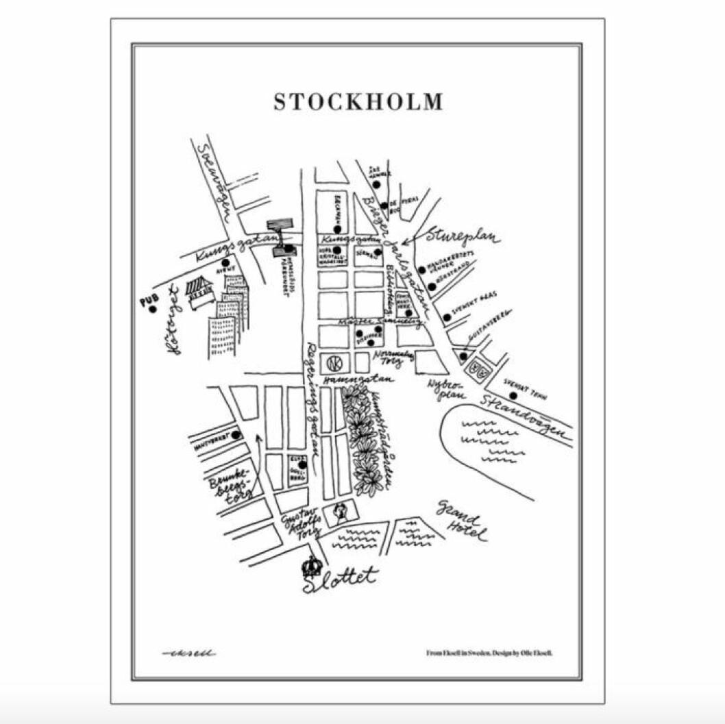 Tavla med karta över Stockholm