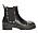 Grova ankelboots i svart skinn med silverfärgade nitar på tårna och längs med sulan. Boots från Scorett.