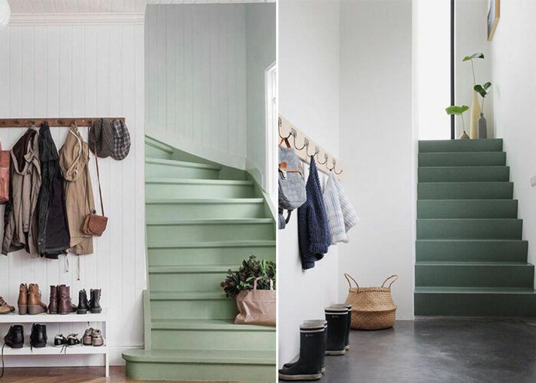 grönmålad trappa
