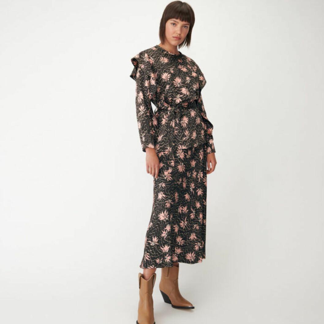 Blommig topp och kjol som set