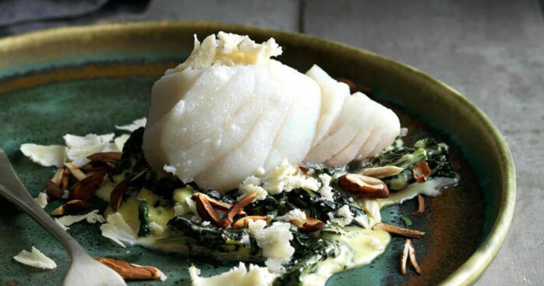 recept torsk med spenat