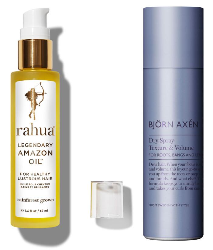 Legendary Amazon Oil från Rahua och Dry Spray Texture & Volume från Björn Axén.