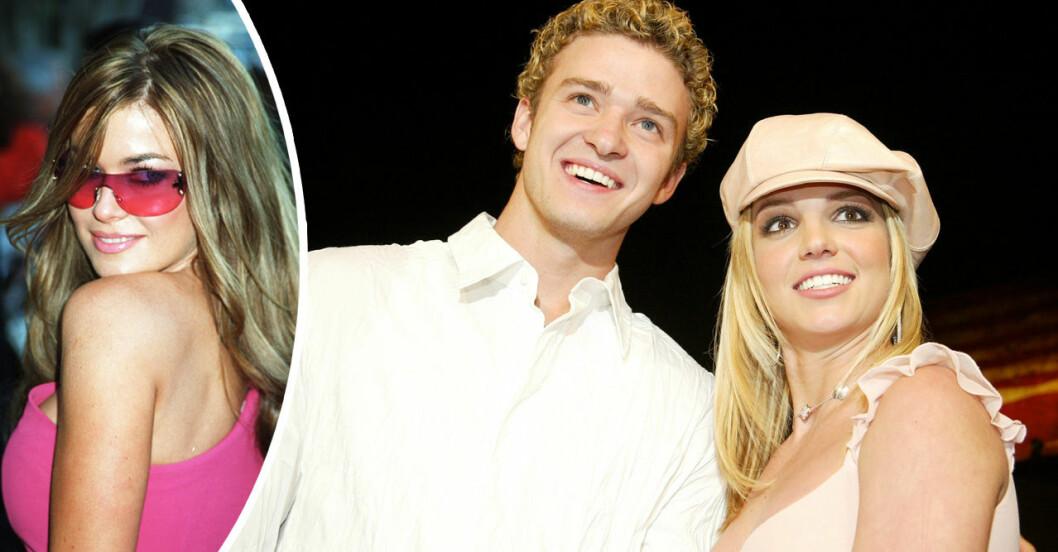 Britney Spears och Justin Timberlake i vitt och Carmen electra i rosa solglasögon
