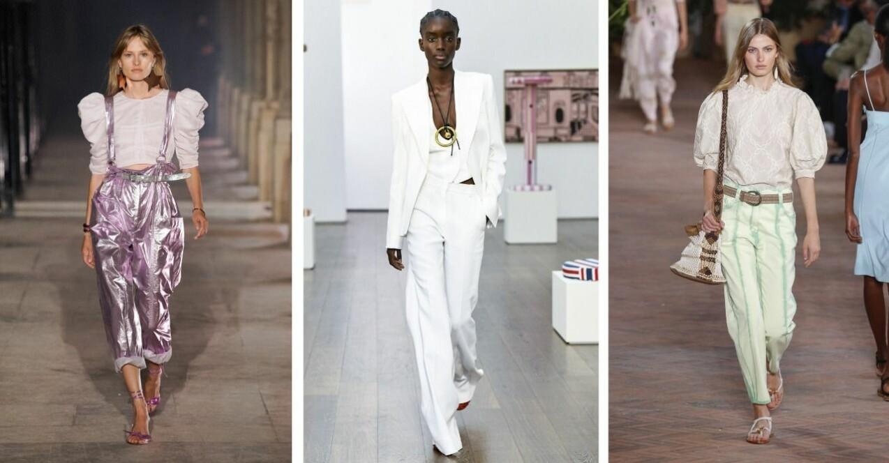 Kollage med tre catwalk-bilder. Från vänster: Isabel Marant, Victoria Beckham, Alberta Ferretti. Mer utförlig beskrivning längre ner i artikeln.