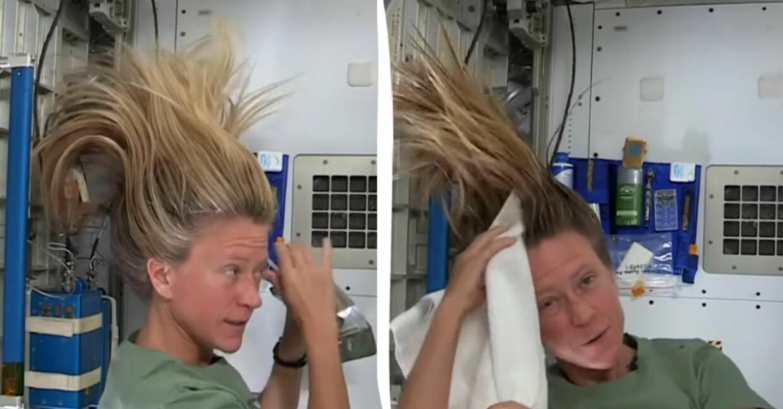Karen Nyberg tvättar håret i rymden.