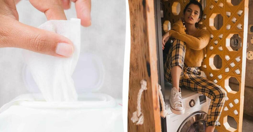 Vårservett kvinna på tvättmaskin