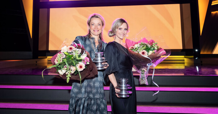 Gunilla Leining och Emelie Schepp, vinnare i spänningskategorin i Storytel Awards 2021.