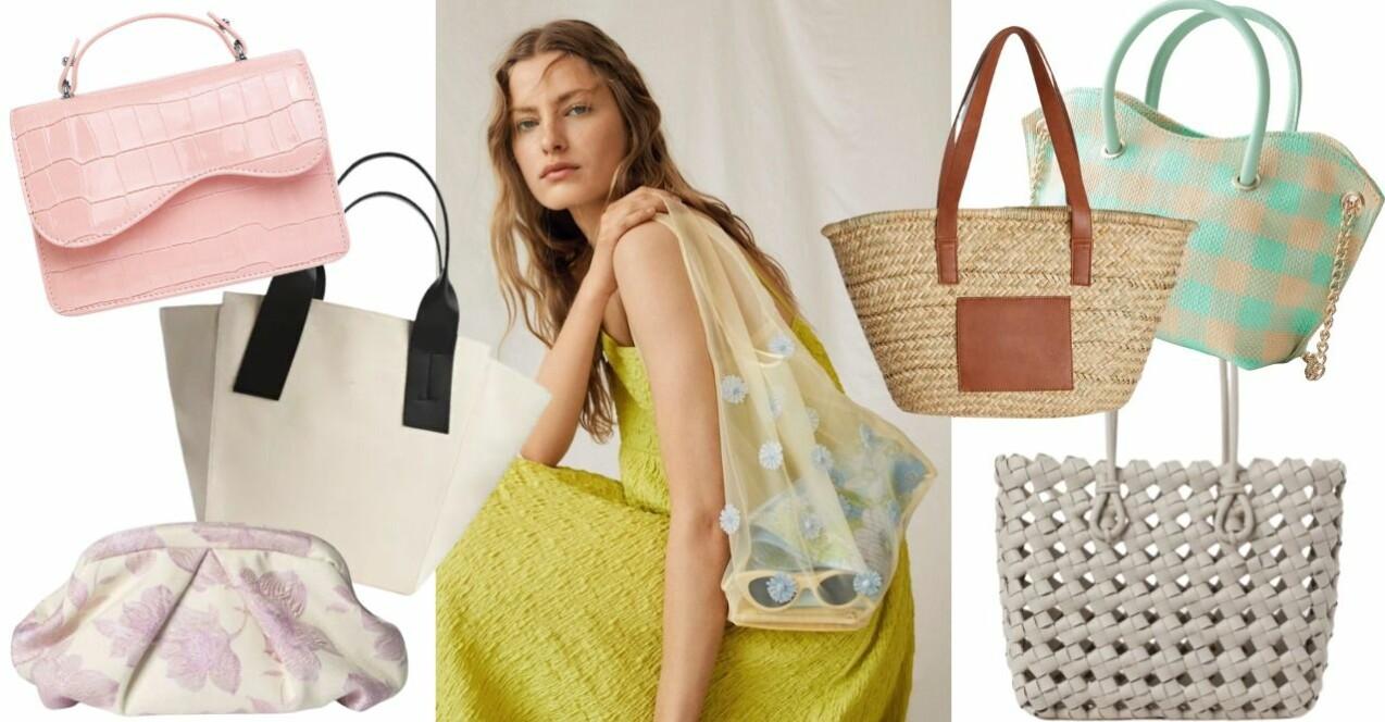 Inspirationskollage med väskor. Samtliga väskor beskrivs närmre längre ner i artikeln.