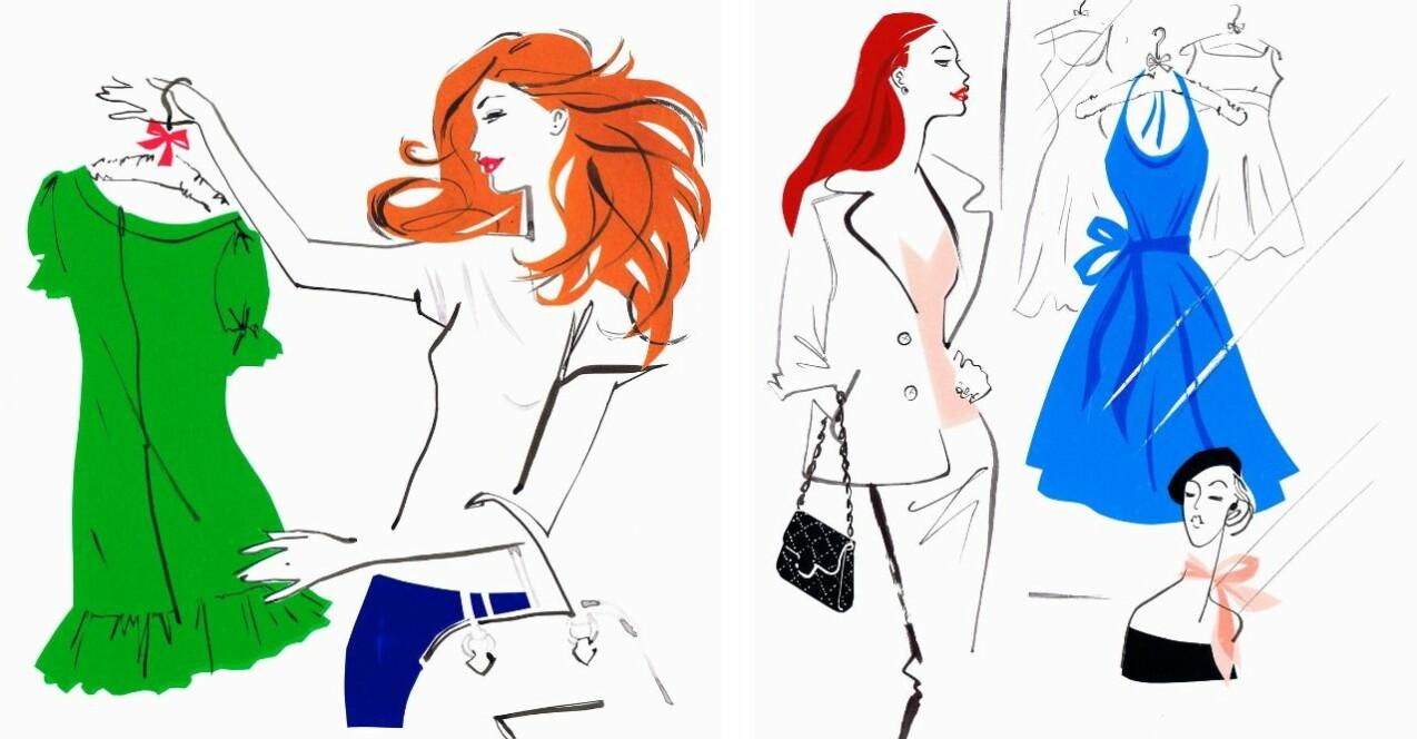 Illustrationer av kvinnor som shoppar och kollar på kläder.
