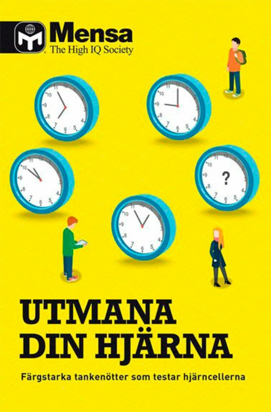 Bokomslag till Utmana din hjärna, tecknade klockor och en man samt kvinna på omslaget.
