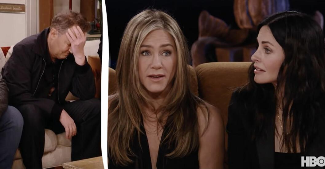 Matthew Perry, Jennifer Aniston och Courteney Cox i Vänner-återföreningen.