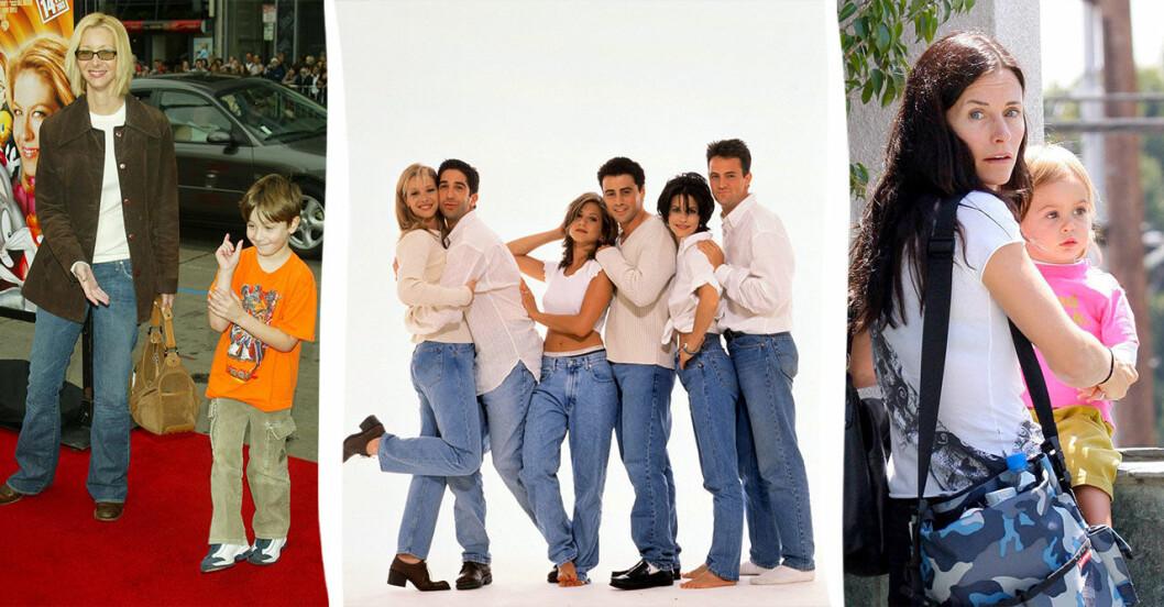 Vänner-skådespelarna tillsammans 1994, Lisa Kudrow och Courteney Cox med sina barn som små.