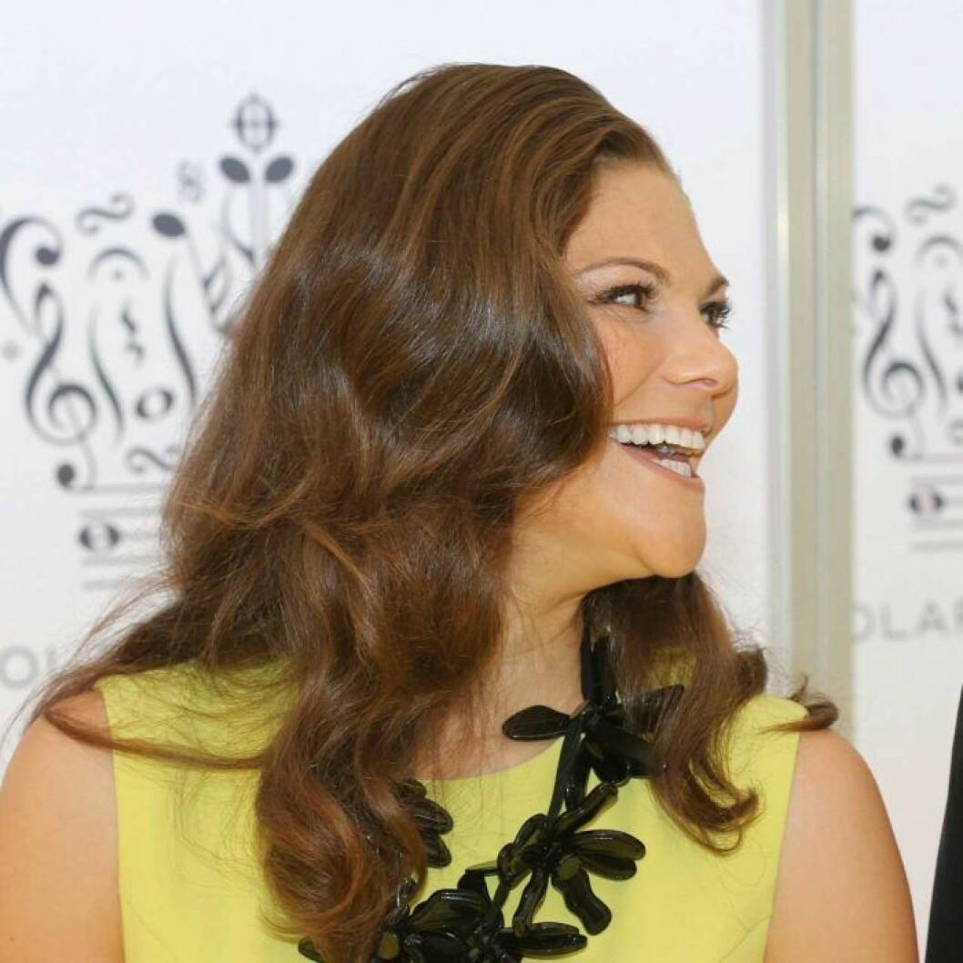 Kronprinsessan Victoria med utsläppt hår på Polarpriset 2012.