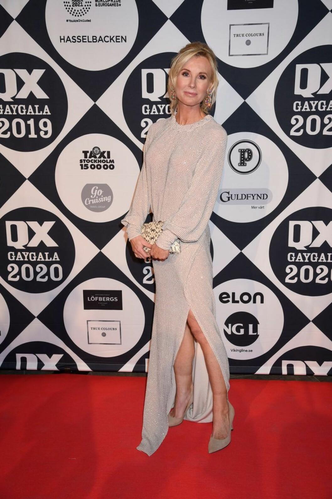 Victoria Skoglund på röda mattan på QX-galan 2020
