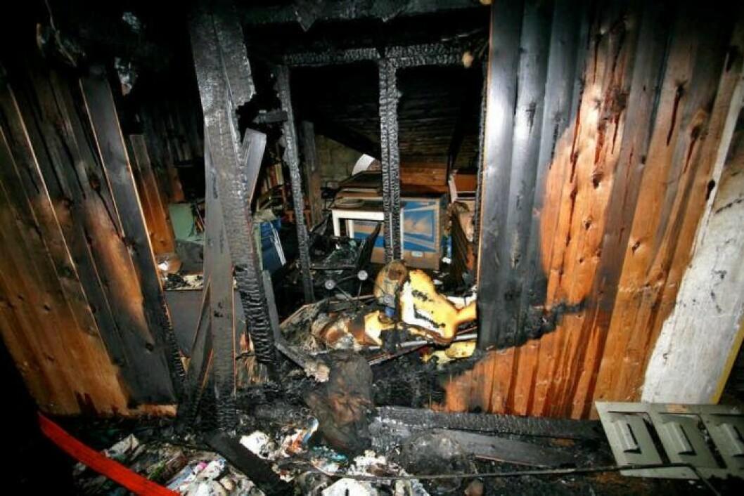 Bild på utbränd vind, en brand som anlagts av Gryningspyromanen.
