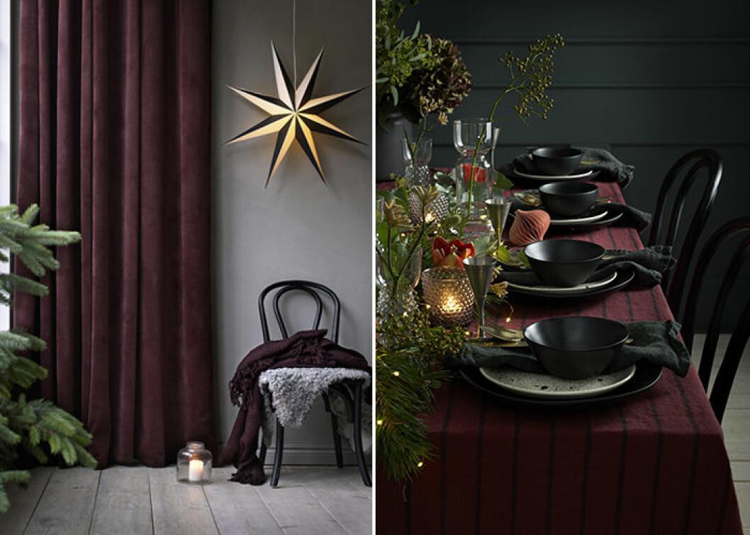 Vinrött och rostrött ger en elegant julstämning