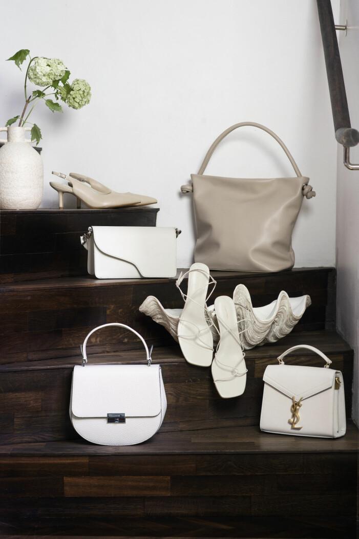 Väskor och skor från atp, decadent copenhagen, vagabond i den vita färgskalan.