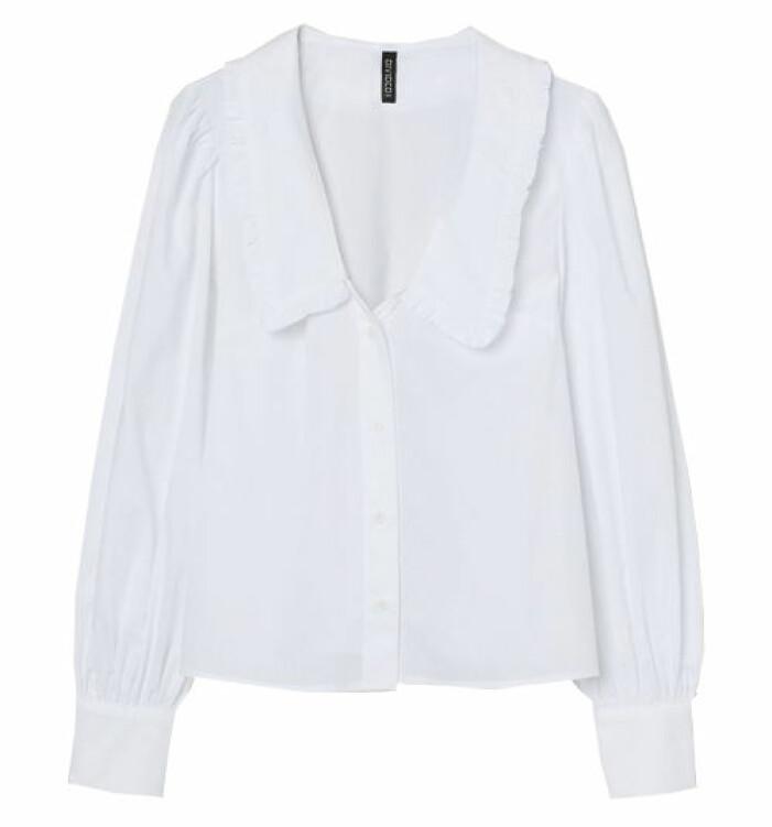vit blus med krage hm
