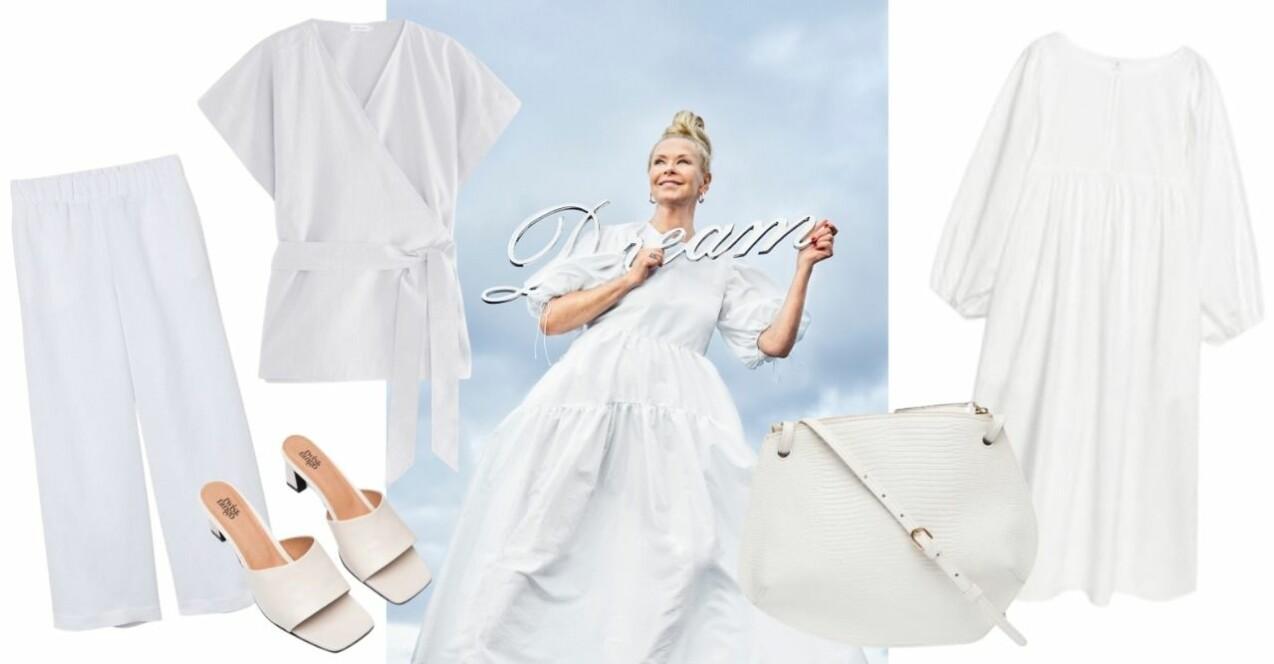 """Efva Attling från modejobbet i tidningen Femina. På bilden har hon en voluminös klänning med puffärmar och håller i en skylt """"Dream"""". På bilden som är ett kollage finns även fem vita plagg och accessoarer för att illustrera en av sommarens stora trender. En maxiklänning, en omlott-topp, byxor, mules och en skinnväska i mindre modell."""